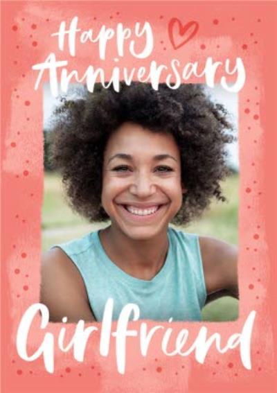 Happy Anniversary Girlfriend Typographic Photo Upload Anniversary Card