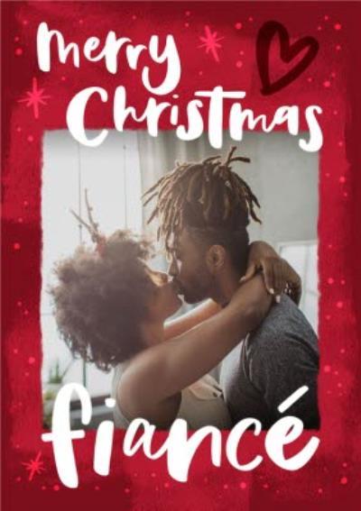 Modern Typographic Fiance Photo Upload Christmas Card