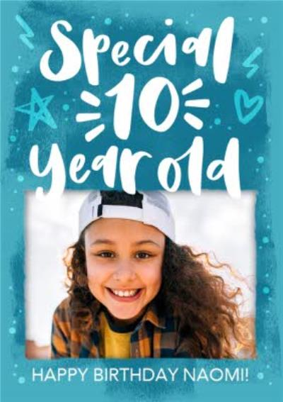 Modern Typographic Special 10 Year Old Photo Upload Birthday Card