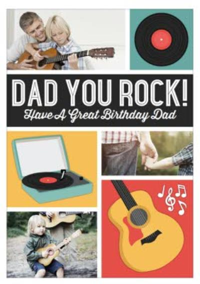 Record Players And Guitar Personalised Photo Upload Birthday Card For Dad