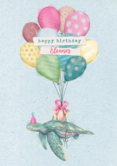 Floating Turtle Birthday Card - balloons