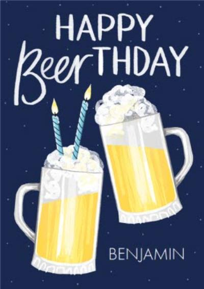 Beer Illustration Beerthday Birthday Card