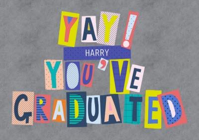 Colourful Block Letters Yay! Youve Graduated Card