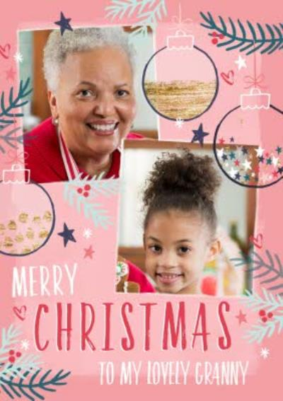 Merry Christmas To My Lovely Granny Photo Upload Christmas Card