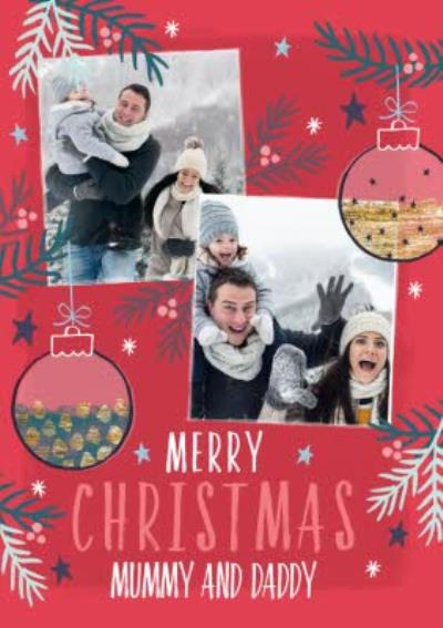 Merry Christmas Mummy And Daddy Photo Upload Christmas Card