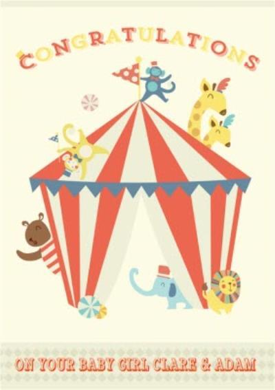 Personalised Cartoon Circus Act New Baby Card