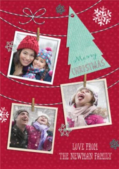 Snapshots On A String Personalised Photo Upload Christmas Card