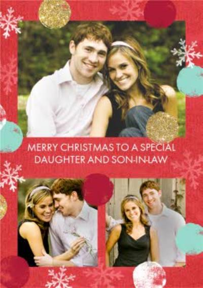 Red Spots Snowflake Personalised Photo Upload Merry Christmas Card For Daughter And Son-In-Law