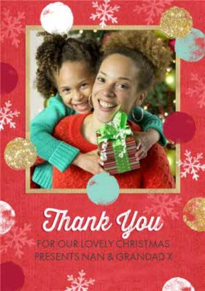 Snowflakes And Fading Circles Photo Upload Christmas Thank You Card For Grandparents