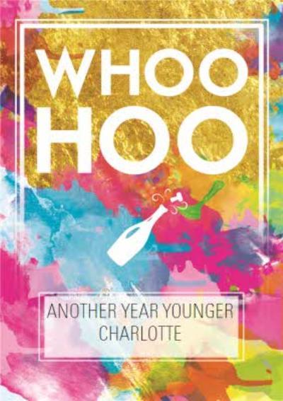Splashes Of Neon Whoohoo Personalised Birthday Card