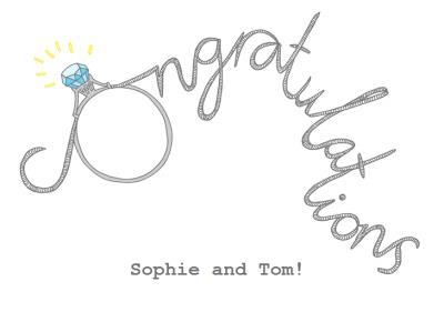 Customisable Typographic Diamond Engagement Congratulations Card