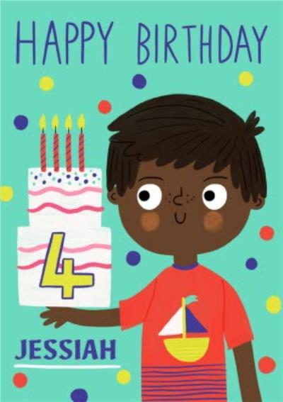 Yay Today Illustrated Happy 4th Birthday Card