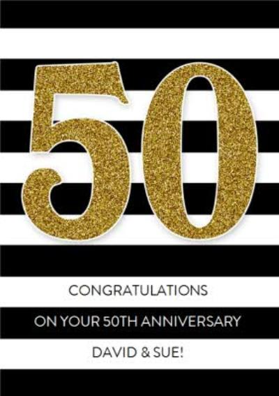 Black And White Stripes With Glitter Number Personalised 50th Anniversary Card