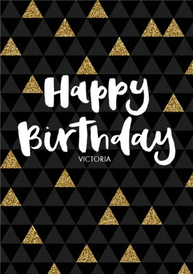Gold Glittered Pyramids Personalised Happy Birthday Card