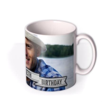 Mugs - Happy Birthday 40th Banner Photo Upload Mug - Image 2
