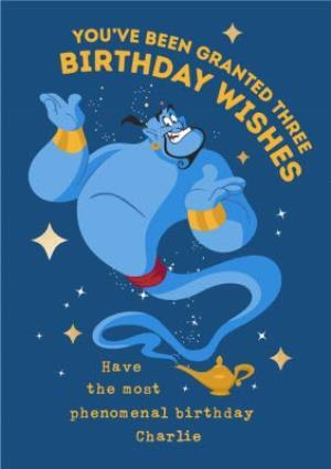 Greeting Cards - Aladdin Birthday Card - Genie - Granted three Birthday wishes Birthday Card - Image 1
