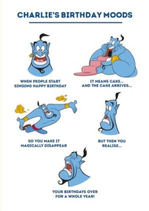 Greeting Cards - Aladdin - Genie Birthday Moods - funny humour comedy Birthday Card - Image 1