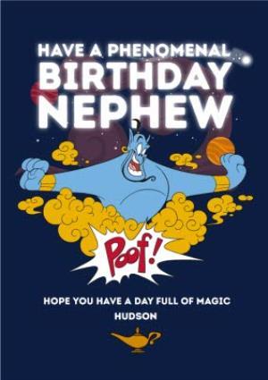 Greeting Cards - Aladdin Nephew Birthday Card - Genie Have a Phenomenal Birthday - Image 1