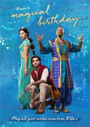 Greeting Cards - Aladdin film birthday card - Have a magical Birthday, may all your wishes come true x Jasmine Genie - Image 1