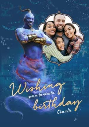 Greeting Cards - Aladdin film photo upload birthday card - Wishing you a fantastic Birthday from the Genie - Image 1