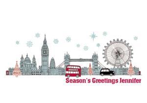 Greeting Cards - Almanac Gallery Personalised London Scene Christmas Card - Image 1