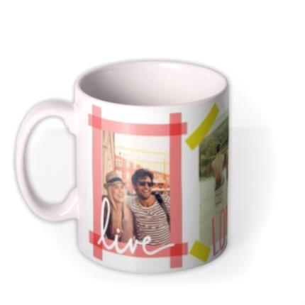 Mugs - Tape Live, Laugh, Love Multi-Photo Custom Mug - Image 1
