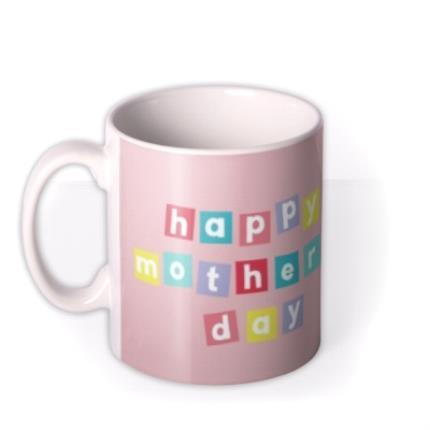 Mugs - Pastel Blocks Photo Upload Happy Mother's Day Mug - Image 1