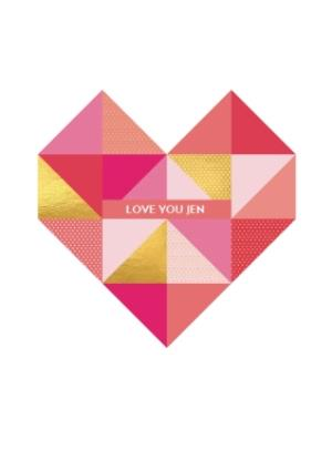 Greeting Cards - Amore Love You Geometric Heart Personalised Card - Image 1