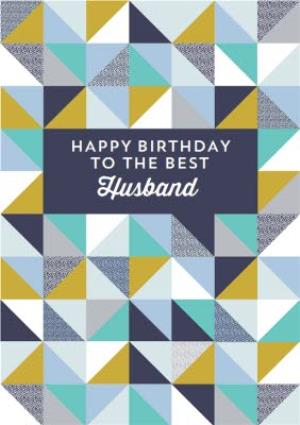 Greeting Cards - Husband Geometric Birthday Card - Image 1