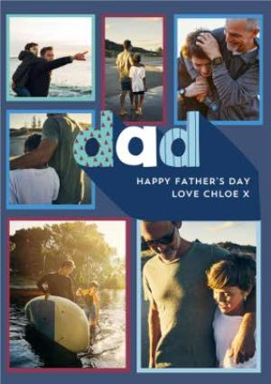 Greeting Cards - Big Blue Letters Father's Day Multi-Photo Card - Image 1