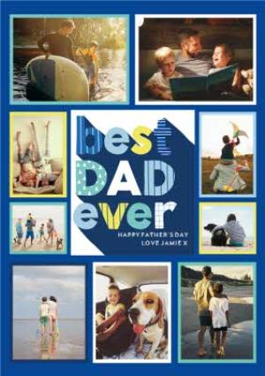 Greeting Cards - Big Blue Letters Best Dad Ever Father's Day Multi-Photo Card - Image 1