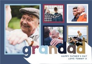Greeting Cards - Big Patterned Letters For My  Grandad Father's Day Multi-Photo Card - Image 1