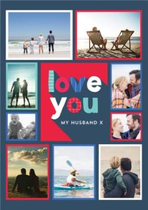 Greeting Cards - Big Block Letters Love You Husband Valentine's Day Photo Card - Image 1