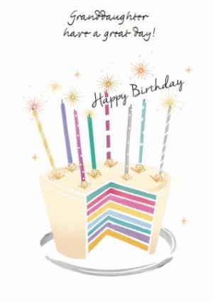Greeting Cards - Birthday Cake With Candles Granddaughter Card  - Image 1