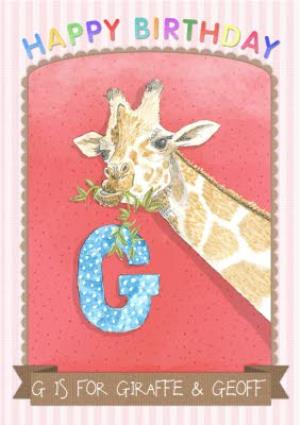 Greeting Cards - Alphabet Animal Antics G Is For Personalised Happy Birthday Card - Image 1