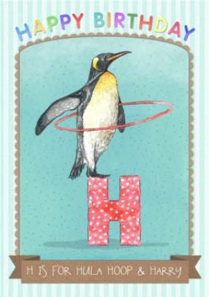 Greeting Cards - Alphabet Animal Antics H Is For Personalised Happy Birthday Card - Image 1