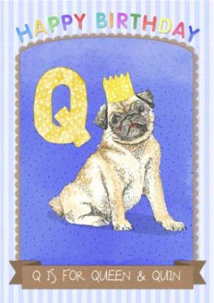 Greeting Cards - Alphabet Animals Antics Q Is For Personalised Happy Birthday Card - Image 1