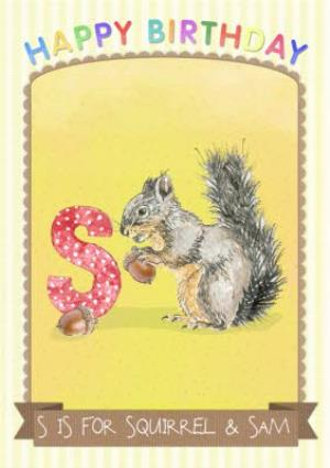 Greeting Cards - Alphabet Animal Antics S Is For Personalised Happy Birthday Card For Kids - Image 1