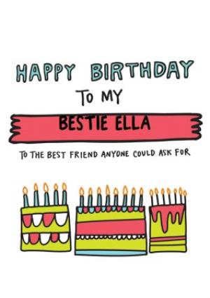 Greeting Cards - Angela Chick Bestie Birthday Card - Image 1