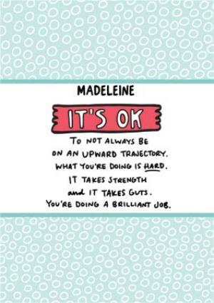 Greeting Cards - Angela Chick Empathy it's ok, it's hard but you are strong Sobriety Sober Teetotal personalised Card - Image 1