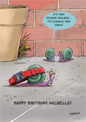 Greeting Cards - Birthday Card - Snails - Fitness - Fitbit - Image 1