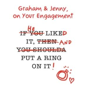 Greeting Cards - Anon Sense He Put A Ring On It Engagement Card - Image 1