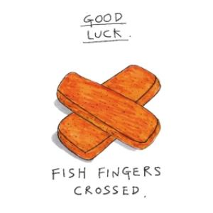 Greeting Cards - Anon Sense Good Luck Fishfingers Card - Image 1