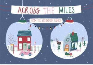 Greeting Cards - Across The Miles Baubles Personalised Christmas Card - Image 1