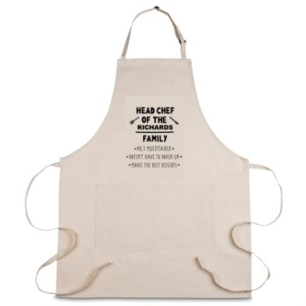Gifts For Home - Personalised Head Chef of the Family Apron - Image 1