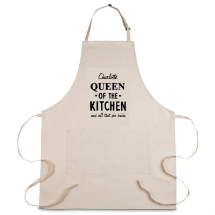 Gifts For Home - Personalised Queen of the Kitchen Apron - Image 1
