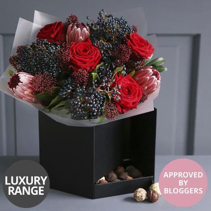 Flowers - Luxury Valentine's Gift Box with Chocolates - Image 2
