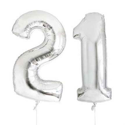 21st Birthday Giant Silver Number Balloons