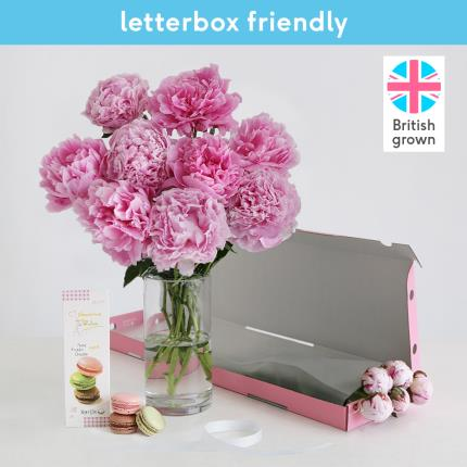 Flowers - The Letterbox Peonies & Macaron Gift Set - Image 2