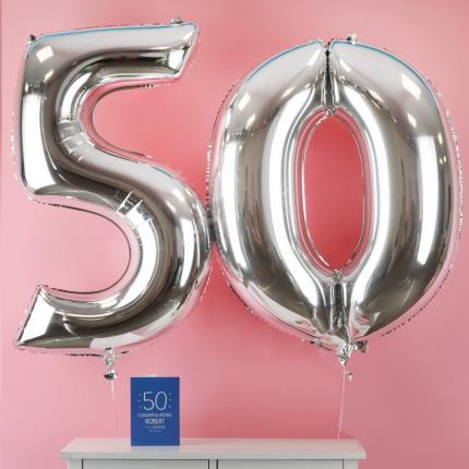 Balloons - 50th Birthday Giant Silver Number Balloons - Image 1